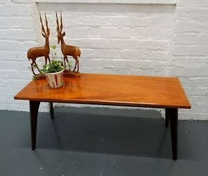 Vintage mid-century 1960s wooden rectangular shaped coffee table