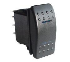 Marine Boat Car Rocker Switch (on)-off-(on) Momentary BLUE LED DPDT/7P 12V/24V