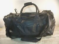 Vintage Black Leather Carry On Weekender Overnight Travel Duffle Gym Bag Pack