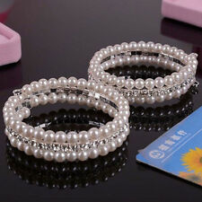 Popular 2 Rows White Faux Pearls For Women Rhinestone Stretch Bangle Bracelet