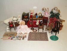 Large Lot of Dollhouse Miniature Furniture & Accessories bathroom rug dolls