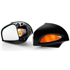 Gloss Black Side Rearview Mirrors Amber Turn Signal Len For BMW R1100RT R1500RT