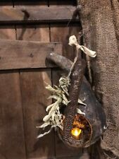 Primitive Dried Gourd Lantern Early Look Peg Hanger Homestead Door Keep  #3