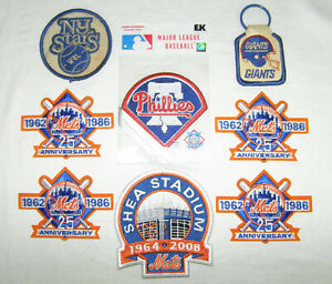 VINTAGE LOT-8 METS ANNIVER,PHILLIES BASEBALL+FOOTBALL+BASKETBALL-EMBROID.PATCHES