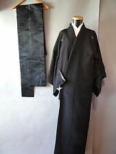 Black Iromuji Kimono /Juban under wear/ Black Silk Nagoya-Obi  set s6811