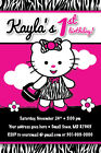 Zebra Print Dress Birthday Party Invitation CUTE Teddy Kitty UPRINT Baby Shower