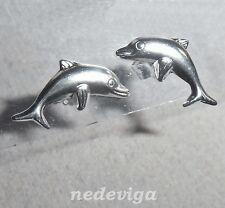 925 Sterling Silber Ohrstecker Ohrringe springender Delfin Delphine Schmucketui