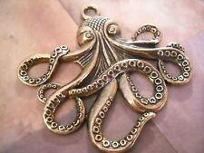 Large Octopus Pendant Antiqued Bronze Steampunk Octopus Pendant Kraken Pendant