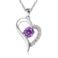 925 Sterling SILVER Amethyst Purple HEART NECKLACE with SWAROVSKI Crystal SS1027