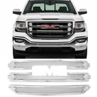 Front Overlay Grill Covers For 2016 2017 2018 GMC Sierra 1500 SLT Chrome Grille