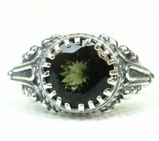MOLDAVITE  RING + CERTIFICATE - Sterling Silver - Size 6 or 8 - Spiritual Growth
