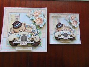 Handmade Toppers or Personalised Card.CUTE WEDDING BEARS decoupage 3d