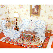 5in1 Sofa Set Furniture Living Room Couch Flower Dollhouse Miniature 1:12 Scale