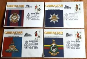 Set Of 4 Gibraltar 1969 Stamp FDC's - Military Uniforms - British Forces H/S