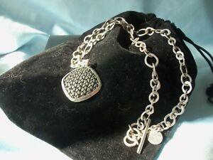 "Vintage Lois Hill Square Basket Weave Hammered Edge .925 Necklace Toggle 18"""