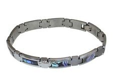 "Tungsten Abalone Paua Shell 11mm Men's Bracelet 8"""