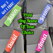 Personalised Printed Seat Belt Cover Printed With Any Name - Green