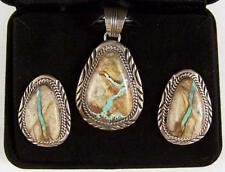 Sterling Silver Navajo Royston Ribbon Turquoise Earring & Pendant Will Denetdale