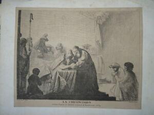 REMBRANDT (1606-1669) GRAVURE ORIENTALISTE JUDAICA CIRCONCISION ENFANT 1840