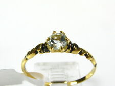 Victorian 14k Yellow Gold Sterling Natural Blue Topaz Solitaire Ring I053BT