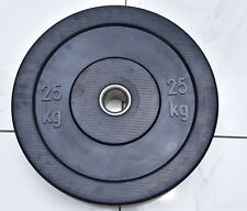2x 25kg Bumper Weight Plates Black Olympic Size Rubber Crumb Home Gym - NEW
