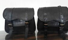 Saddlebags Motorcycle Side Pouch Black Leather pouch Panniers 1Pair Jasol craft