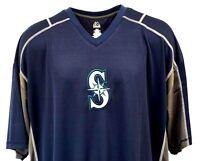 Seattle Mariners Blue MLB Majestic V-Neck Jersey T Shirt, Men's Big & Tall, nwt