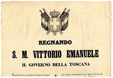 Bando Provvisorio Ricasoli sotto Casa Savoia Cambio Valuta Toscana in Lira 1859