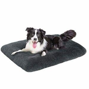 "Long Plush Dog Bed - Comfy Faux Fur Washable Crate Mat Anti-Slip 35.4""x26.4""x3"""