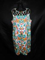 Adrianna Papell 16 White Orange Blue Floral Dress Sleeveless Midi With Pockets l