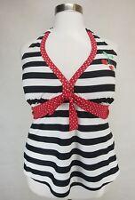 TORRID BLACK WHITE RED STRIPE POLKA DOT W/ CHERRY TANKINI SWIM TOP PLUS Sz 3X