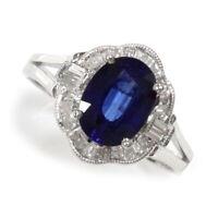 1.3 ct tw Natural Blue Sapphire & Diamond 14k White Gold Flower Cocktail Ring