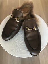 Gucci Princetown Brown Fur Loafers Womens 39