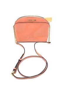 Michael Kors Emmy Peach Patent Leather M Crossbody
