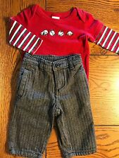 *GYMBOREE* Boys 2 Piece SNOW PANDA Bodysuit HOLIDAY MEMORIES Striped Pants 3-6M