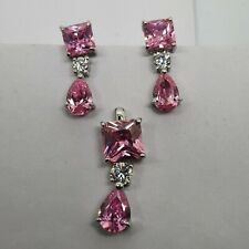 Genuine Sterling silver pendant & earrings set studs Hot Pink V37 fully tested