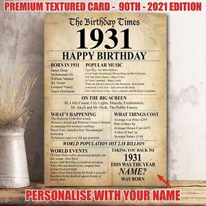 90th 1931 Birthday Present Gift Idea Poster Print Back In Edition Milestone 36