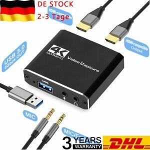 4K HDMI zu USB 3.0 Video Card Grabber Videoaufnahme Game Live-Streaming DE 2021