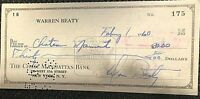 "WARREN BEATTY SIGNED VERY RARE EARLY (1960) PERSONAL CHECK W/REAL NAME ""Beaty"""