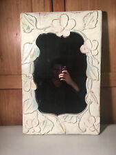 """Vintage American Made Hand Carved Stylish Floral Wooden Mirror 15"""" x 24"""""""
