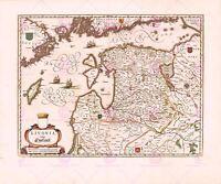 Map Antique Blaeu 1645 Livonia Latvia Estonia Large Replica Canvas Art Print