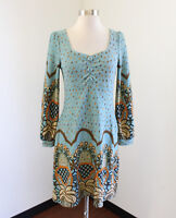 Aryeh Blue Fall Floral Geometric Baby Doll Tunic Sweater Dress Size S