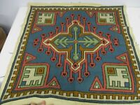 "ANTIQUE HAND EMBROIDERED WOOL 26 1/4"" SQUARE"