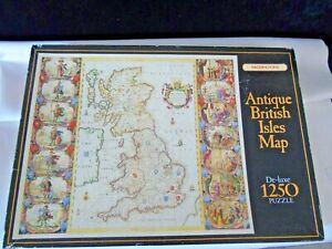 Antique British Isles Map Puzzle - Waddingtons De-luxe 1250