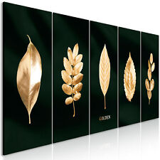 Deco CANVAS PICTURES WALL ART XXL Art Print Gold Leaf 5 PCS Black Plants