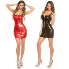Mini Dress Leather Look Square Neck With Belt Full Front Zip KouCla - Black Red