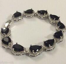 "GB Black pear onyx 7.25"" silver links bracelet (white gold filled) BOXED Plum 02"