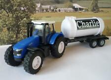 PERSONALISED NAME GIFT Blue Farm Tractor & Milk Tanker Trailer Boys Girls Toy