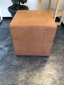 Stool Cube Stool Pouf Vintage Used Cognac 17 11/16x17 11/16in Oldlook Lederlook