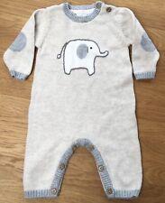 John Lewis Baby Oatmeal & Grey Knitted Style Elephant Babygrow Bodysuit Newborn